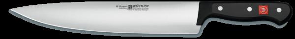 Lunghezza della lama 26 cm Larghezza della lama 47 mm Può essere usato per Cavolo, pesce, frutta, testa di lattuga, erbe, carne, verdure Lunghezza della maniglia 134 mm Maneggiare materiale Manico sintetico, rivettato Hardnessgrade 56 HRC Metodo di fabbricazione Taglio laser Tipologia di prodotto Coltelli da cucina